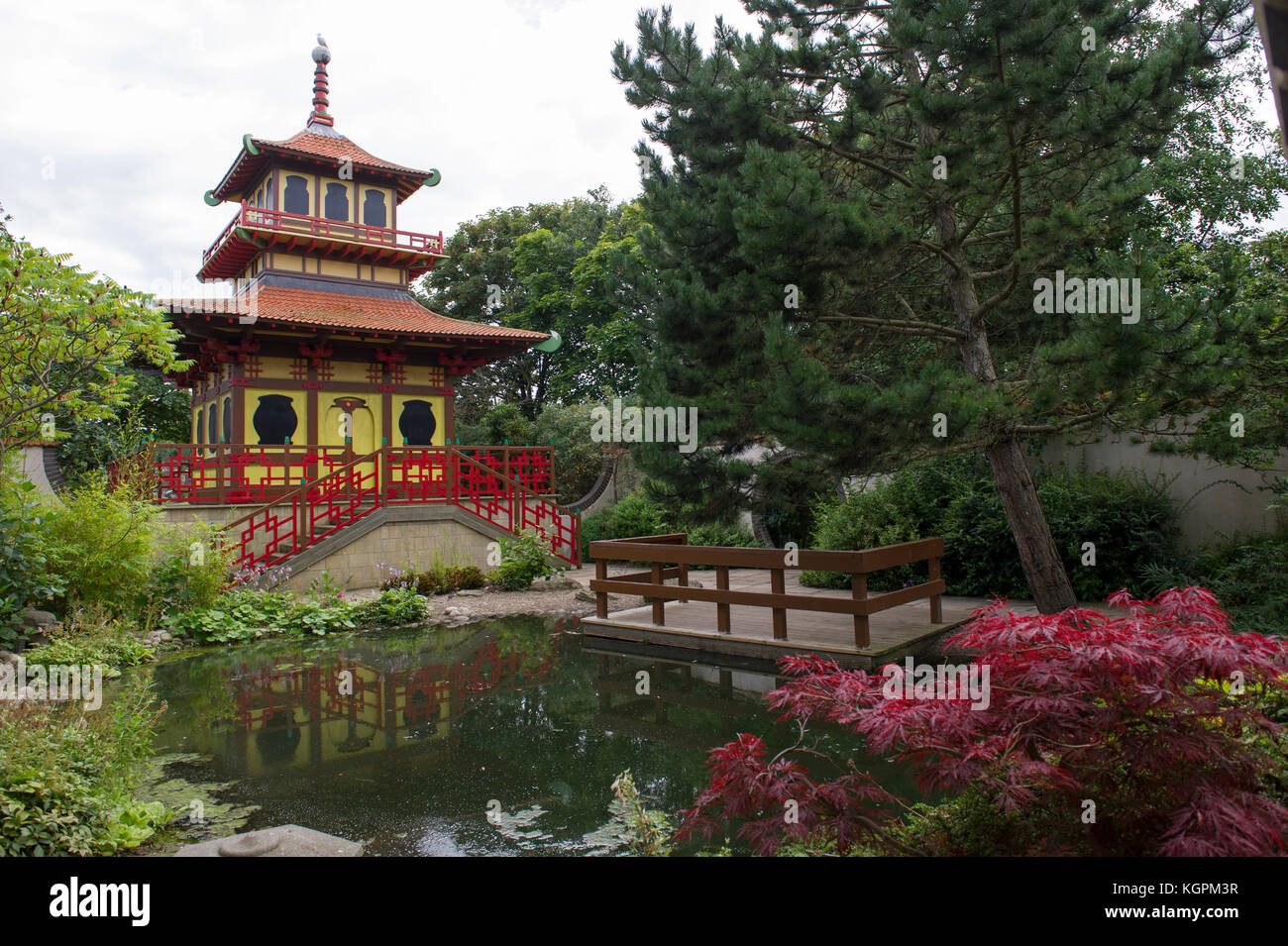 The Japanese Pagoda and gardens in the centre of Peasholm Park in the North Yorkshire seaside town of Scarborough - Stock Image