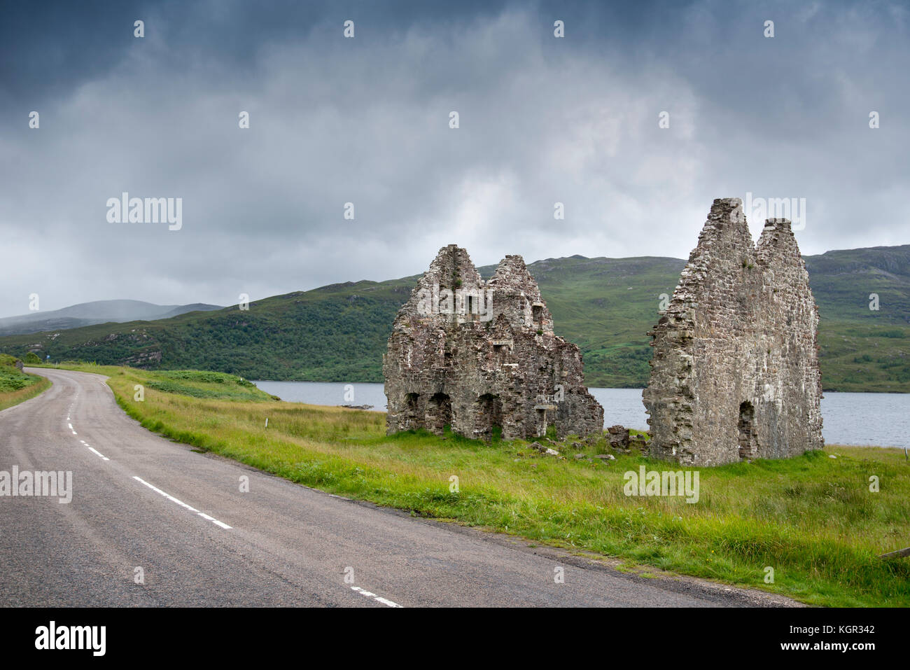 Ruins of Calda House by Loch Assynt in Sutherland, Scotland, on the route of the North Coast 500 scenic drive - Stock Image