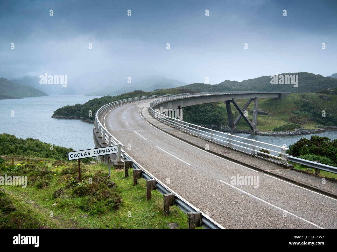 Kylesku Bridge over the Loch a Chairn Bhain in Sutherland, Scotland, part of the North Coast 500 scenic drive - Stock Image