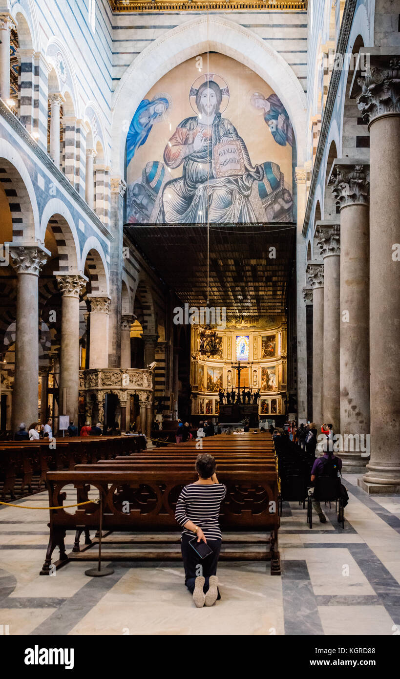 Interior of Pisa Cathedral in Italy, which is a medieval Roman Catholic cathedral dedicated to the Assumption of Stock Photo