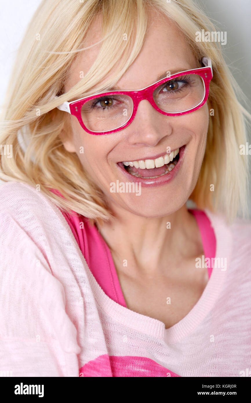 Woman Fashion Pink Shirt Stock Photos & Woman Fashion Pink ...