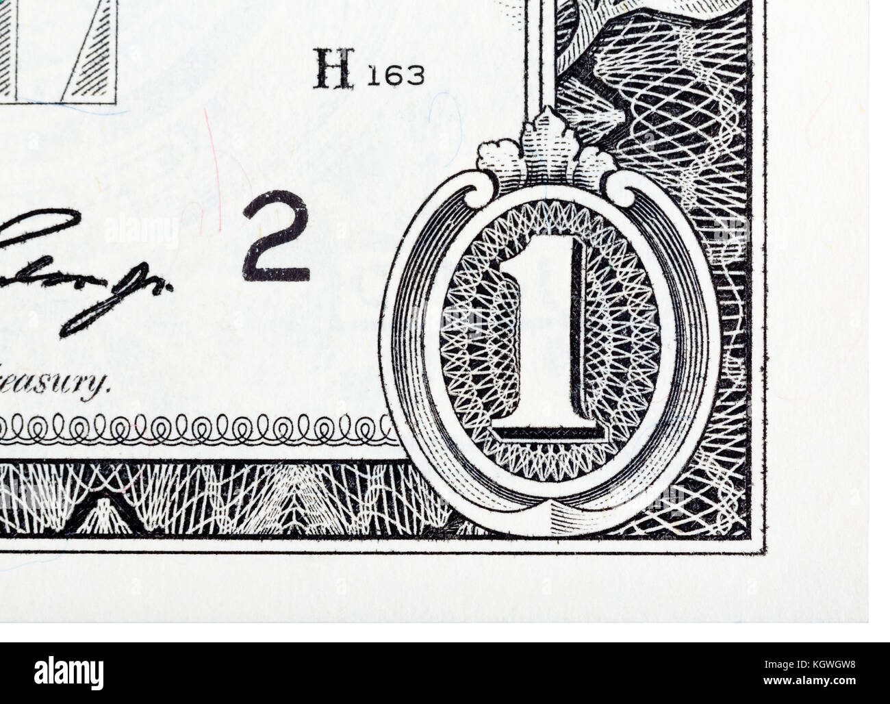 Detailed element based on a one dollar bill. - Stock Image