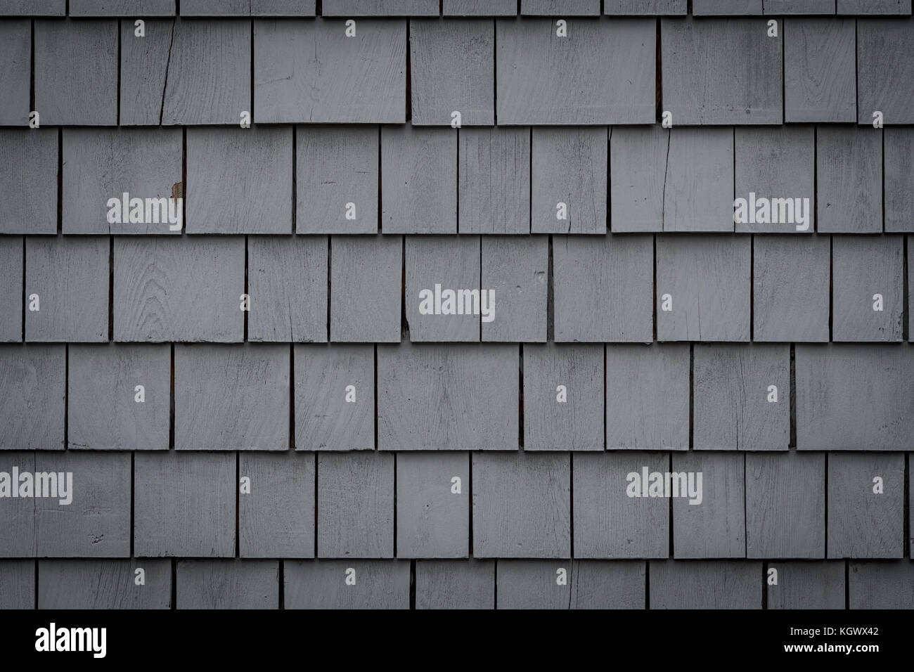 Wall of Gray Painted Shakes Close Up - Stock Image