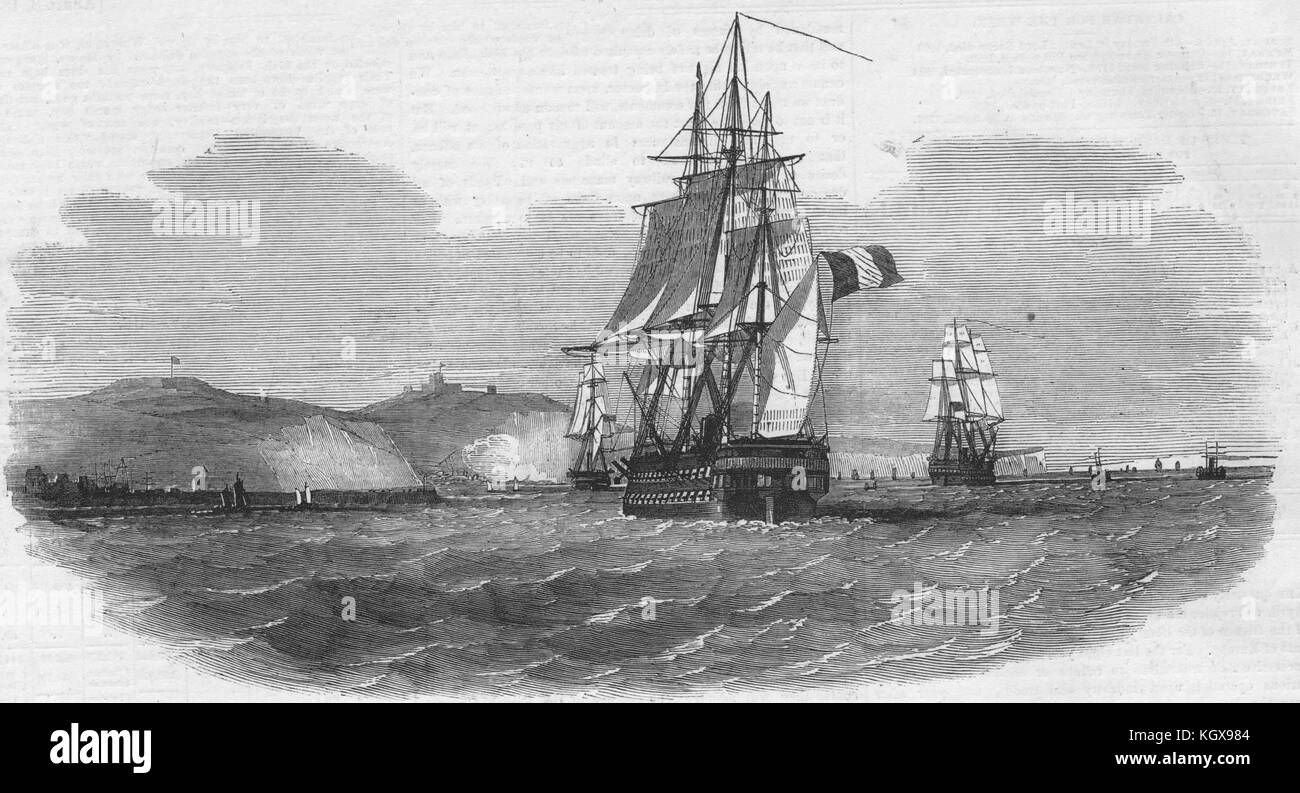 The French screw war-steamer 'Austerlitz' passing Dover. Kent 1854. The Illustrated London News - Stock Image