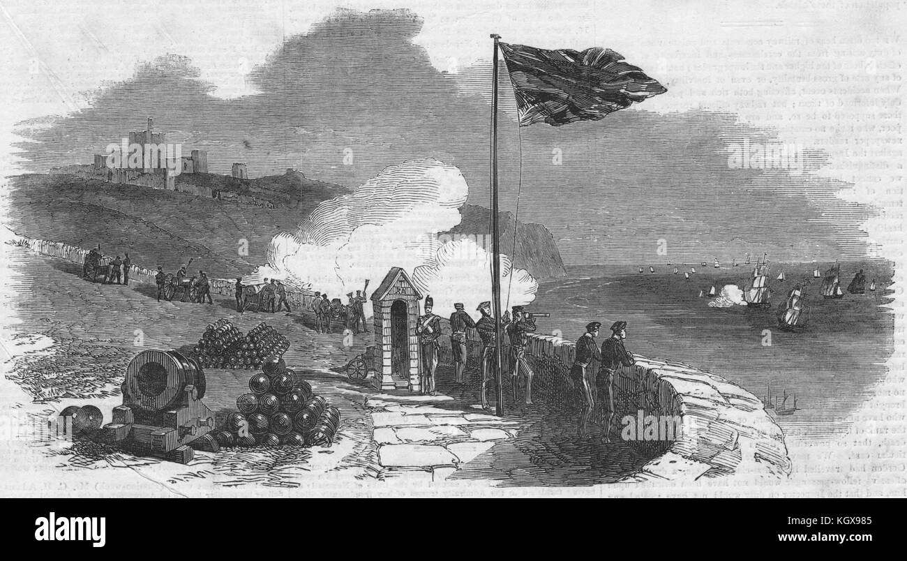 Return of The 'Austerlitz' salute, at Dover. Kent 1854. The Illustrated London News - Stock Image