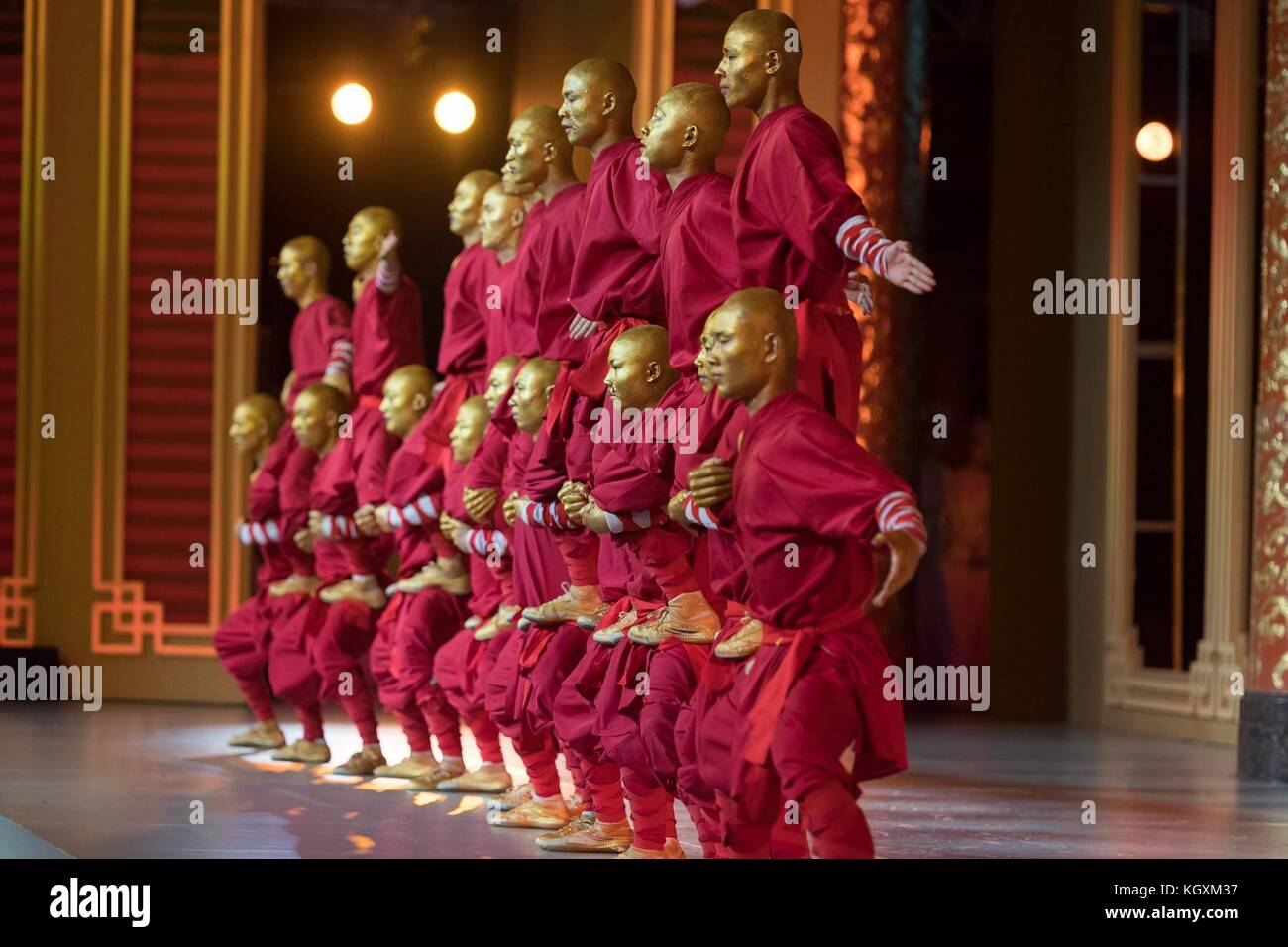 Chinese martial arts experts during the entertainment portion of the state dinner for U.S President Donald Trump - Stock Image