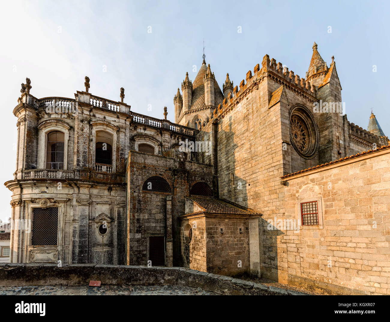 The Se Cathedral of Evora, Portugal, originated in the 13th century, declared a World Heritage Site by UNESCO in - Stock Image
