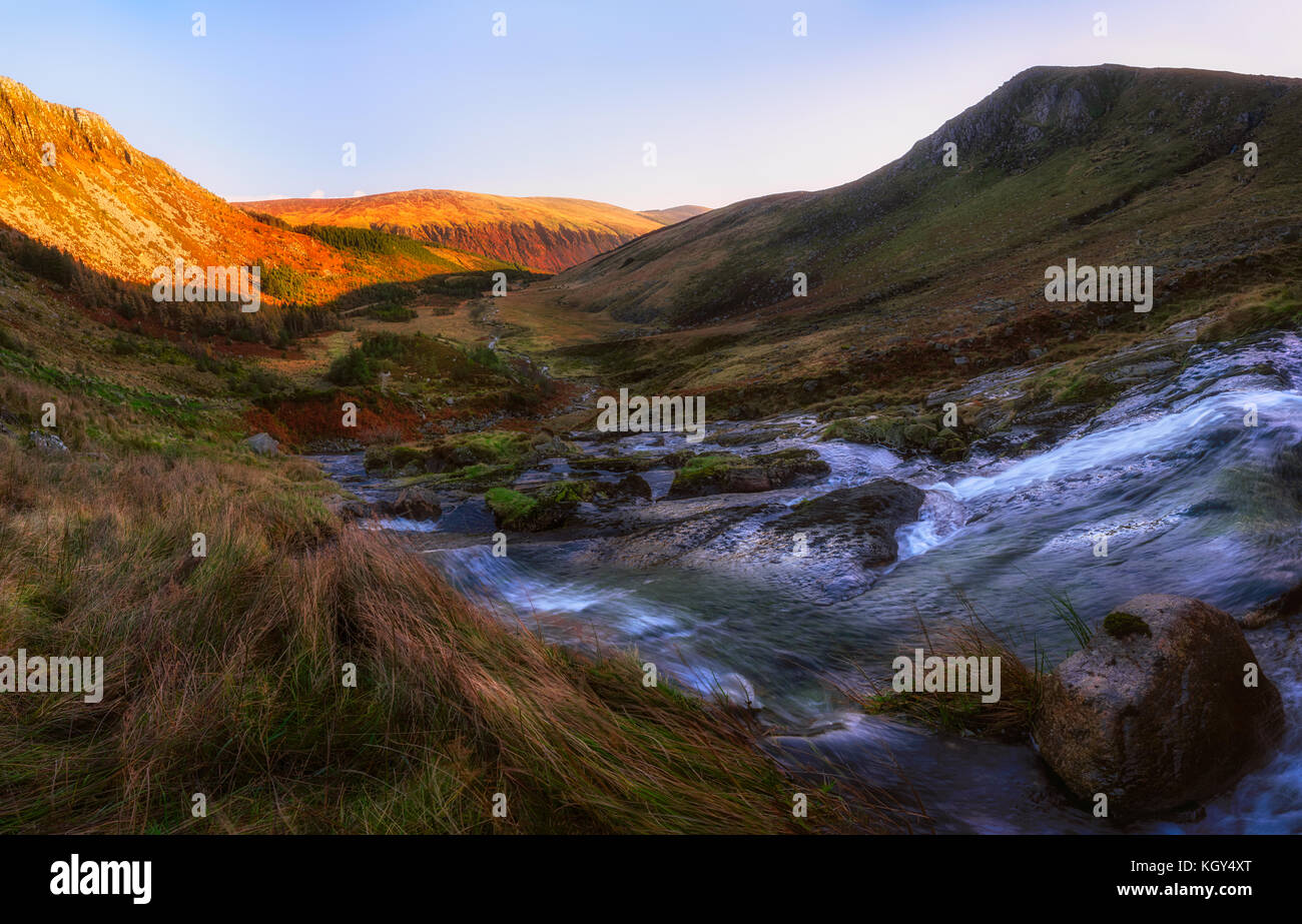 Waterfall in Glenmalure, Wicklow Mountains - Ireland - Stock Image
