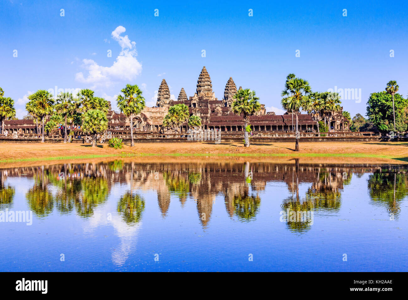 Angkor Wat, Cambodia. View from across the lake. - Stock Image