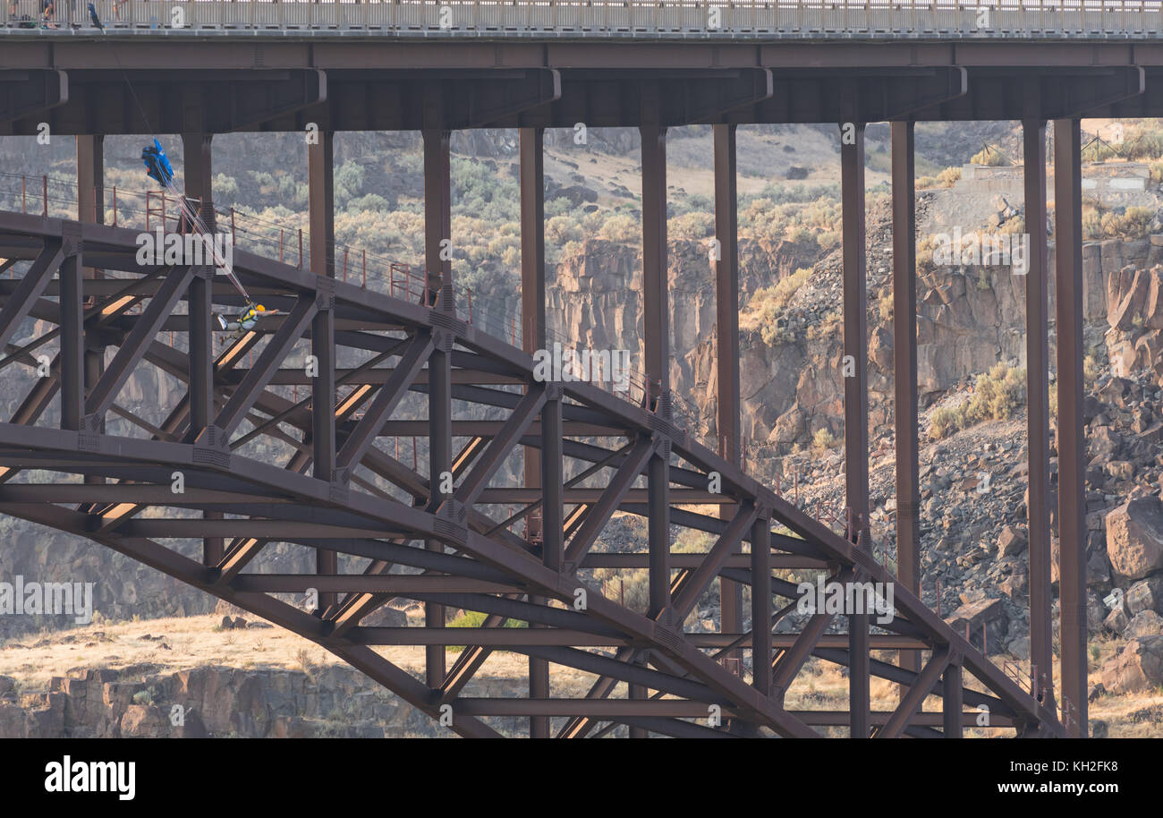 Base Jumper Leaps from Perrine Bridge in Twin Falls, Idaho - Stock Image
