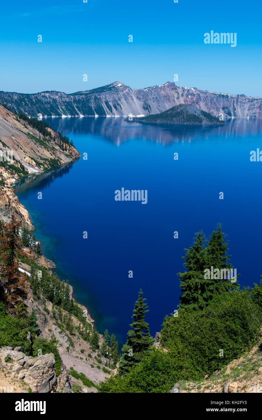 Blue Waters Along the Shore of Crater Lake in Oregon - Stock Image
