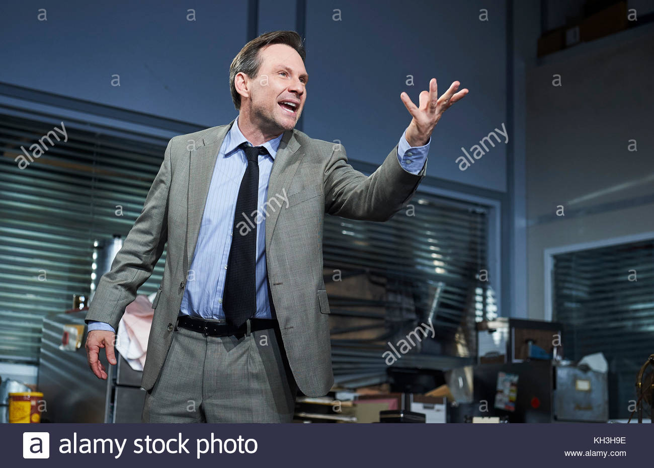 Glengarry Glen Ross by David Mamet, directed by Sam Yates. With Christian Slater as Ricky Roma. Opens at The Playhouse - Stock Image