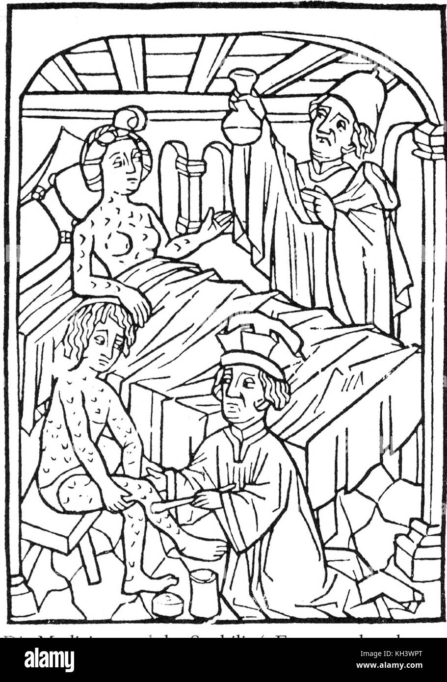 Syphilis. An early medical illustration of people with syphilis, Vienna, 1498 - Stock Image