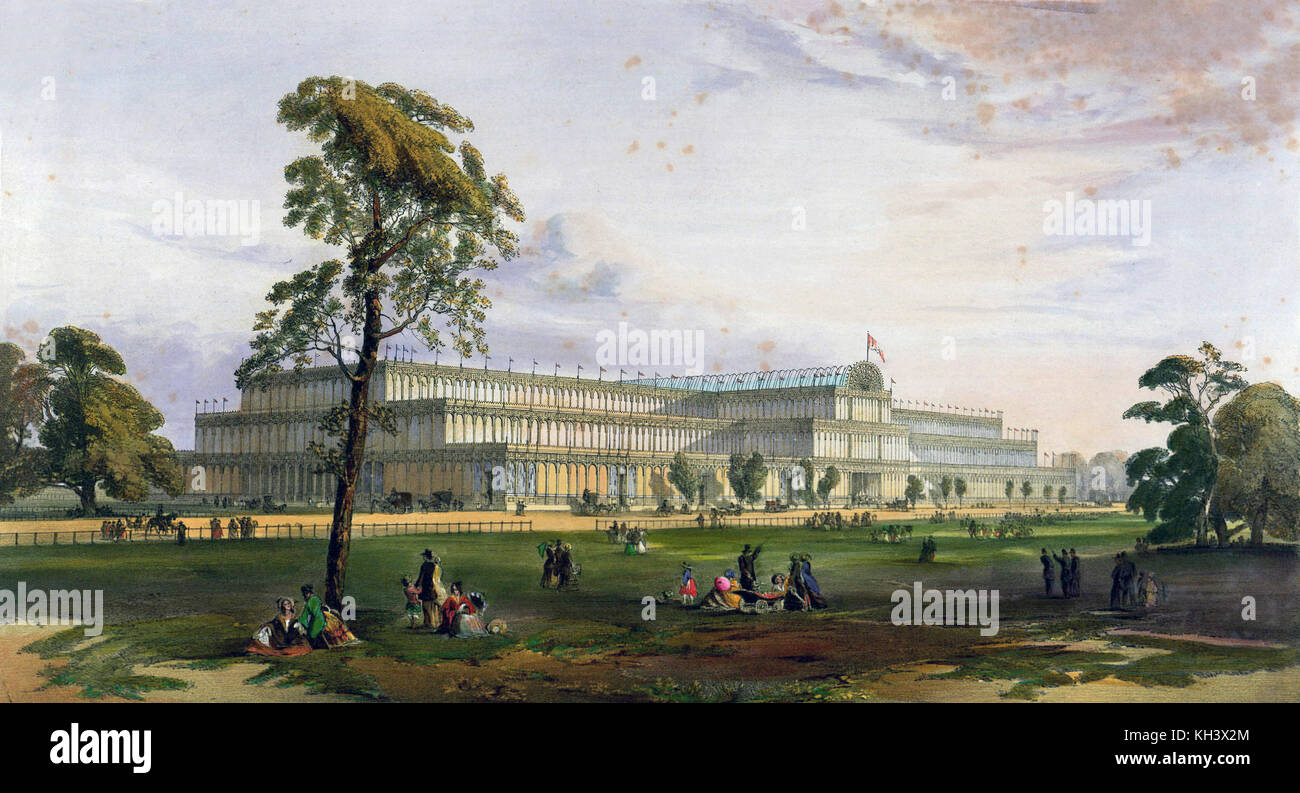 The 1851 Great Exhibition in Hyde Park. Great Exhibition of 1851 The Crystal Palace from the northeast during the - Stock Image