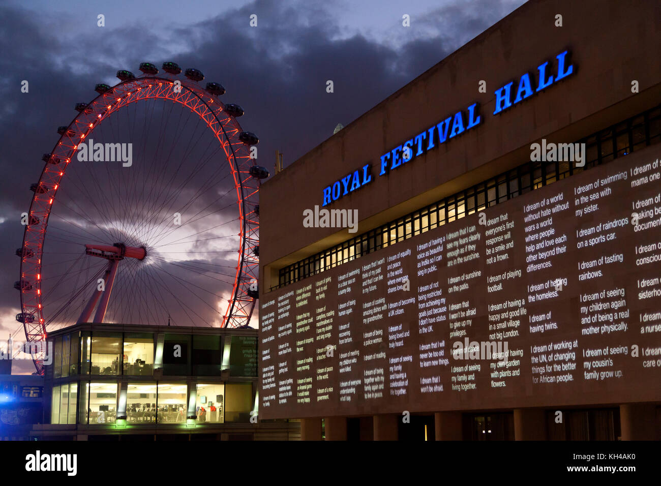 London Eye and Royal Festival Hall at dusk - Stock Image