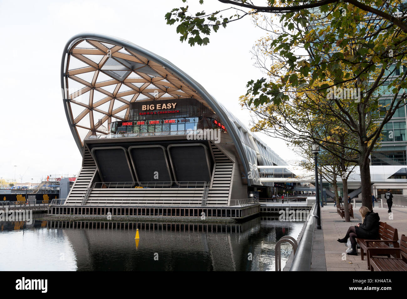 'Big Easy' dockside restaurant at Canary Wharf, London - Stock Image