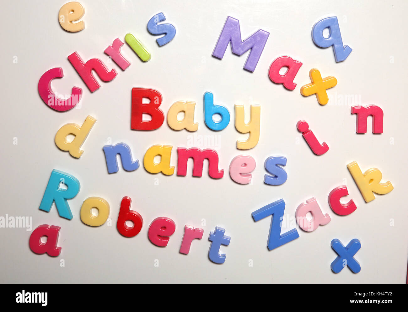 baby names spelt with alphabet letters - Stock Image