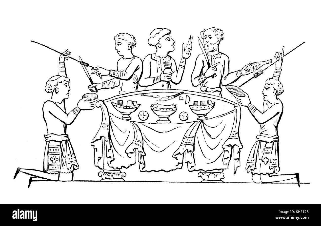 A cartoon of an Anglo Saxon dinner party in 8th Century England. - Stock Image