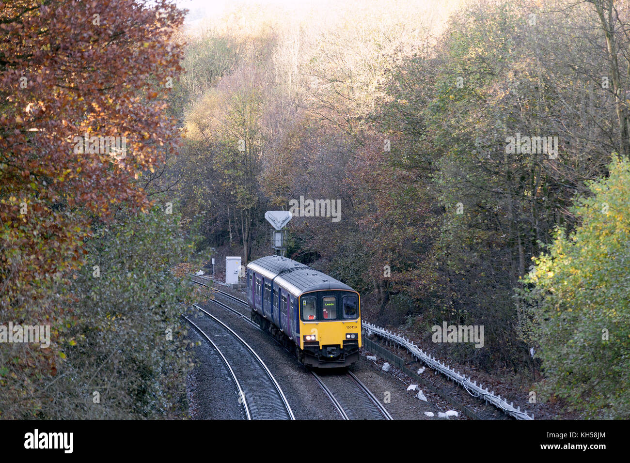 Class 150 DMU approaching Milner Royd Junction bound for Leeds, on the Calder Valley line, Sowerby Bridge, West - Stock Image