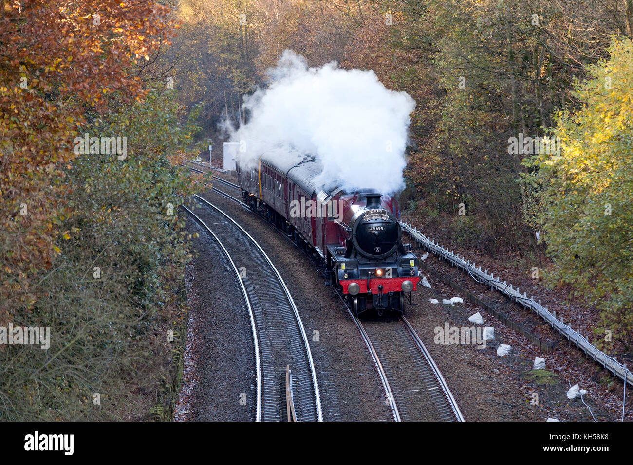 Jubilee Class locomotive 45699 'Galatea' passing Sowerby Bridge on the Calder Valley with a special excursion, - Stock Image
