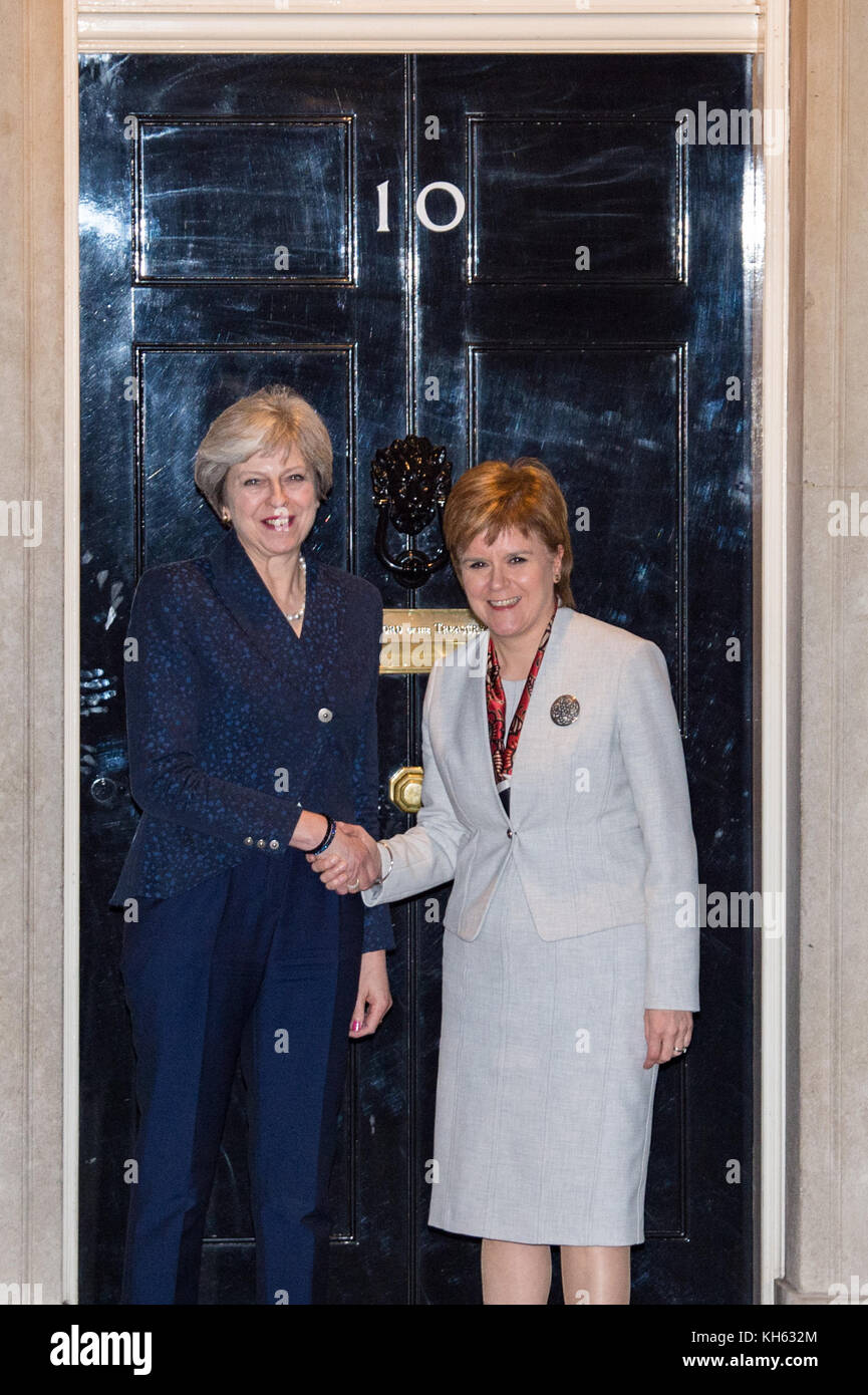 London, United Kingdom. 14th Nov, 2017. UK Prime Minister Theresa May welcomes the First Minister of Scotland, Nicola - Stock Image