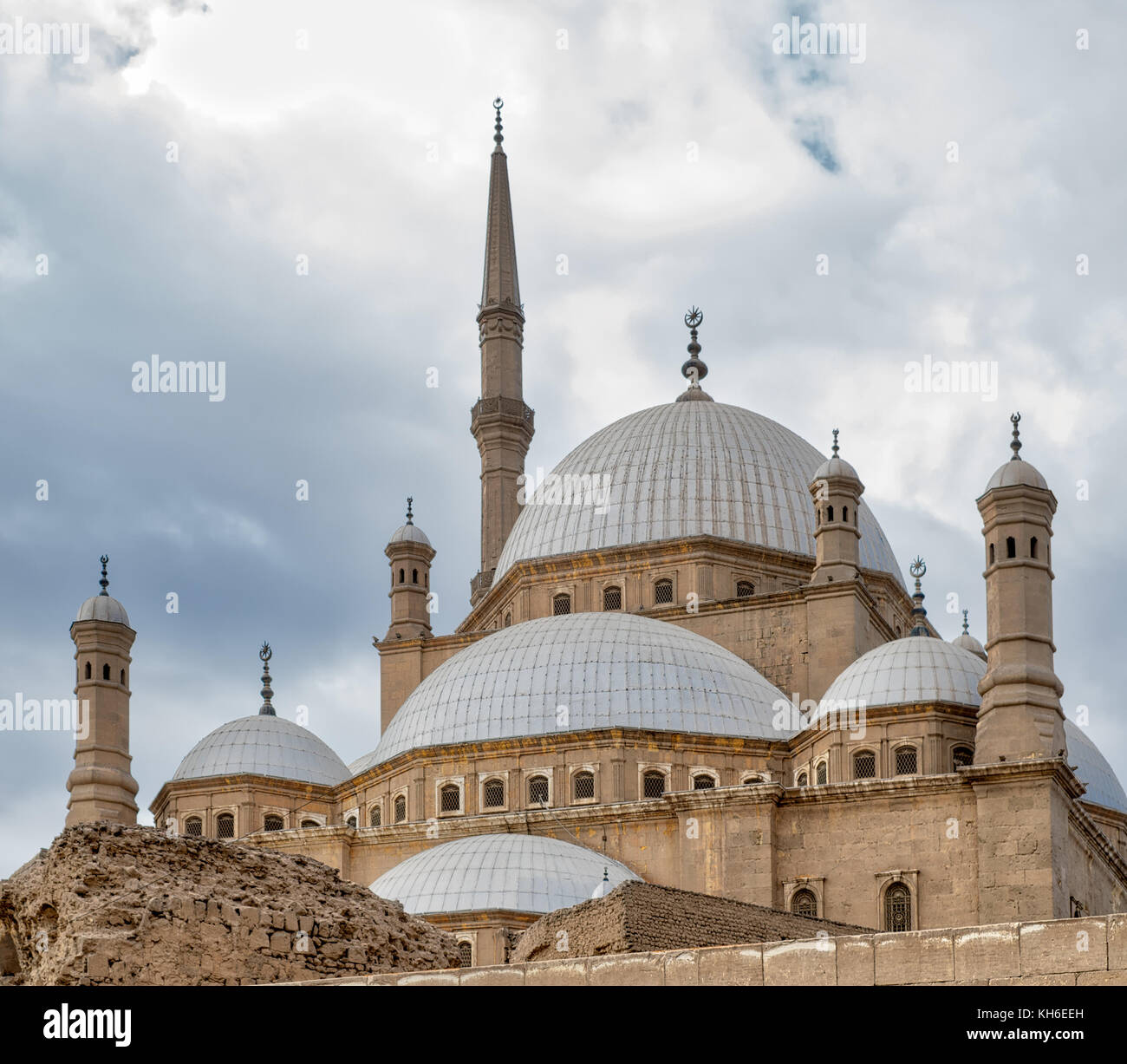 Domes of the great Mosque of Muhammad Ali Pasha (Alabaster Mosque), Citadel of Cairo, Egypt - Stock Image