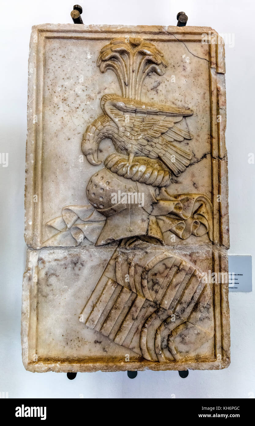 Evora Museum in Evora, Portugal. Marble Coat of Arms of Costas e Silveiras, 16th century. - Stock Image