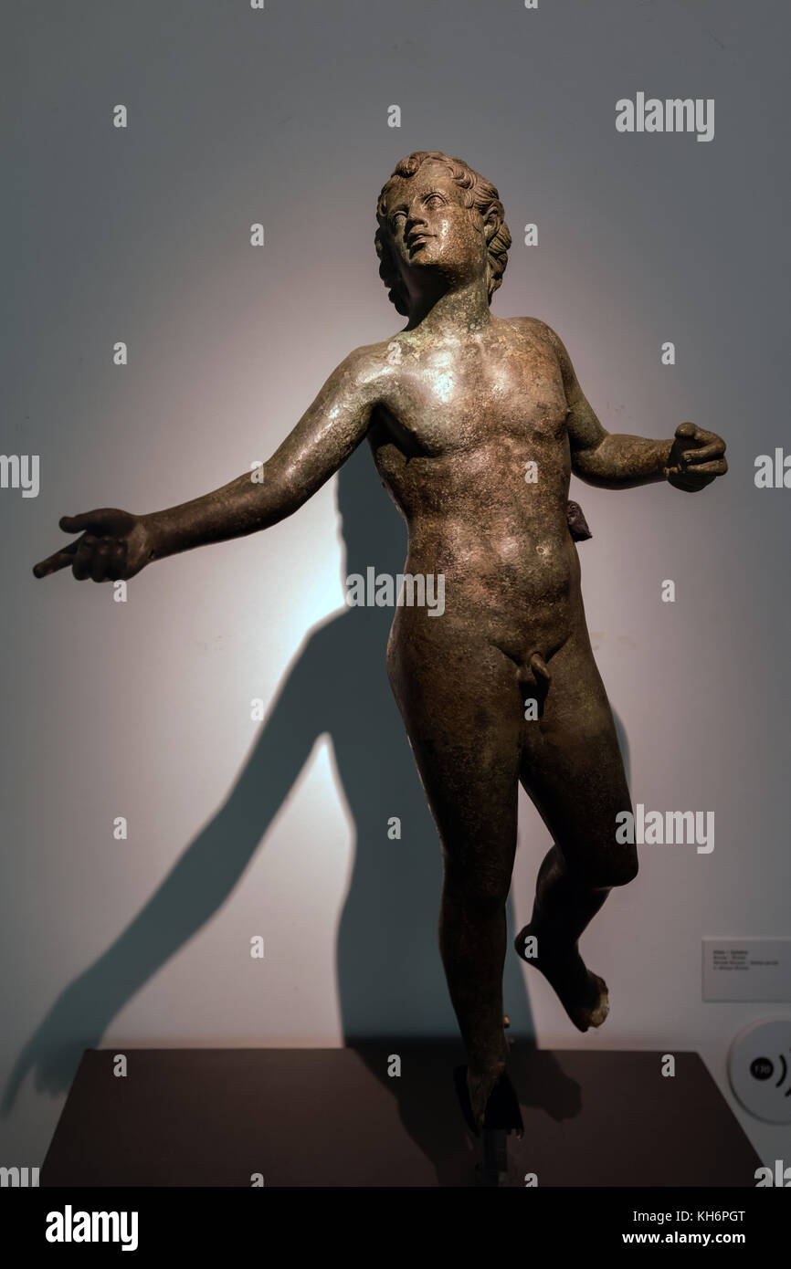 Evora Museum. Bronze statue of Ephebos, Roman period. Ephebos is a Greek word for an adolescent or a social status - Stock Image