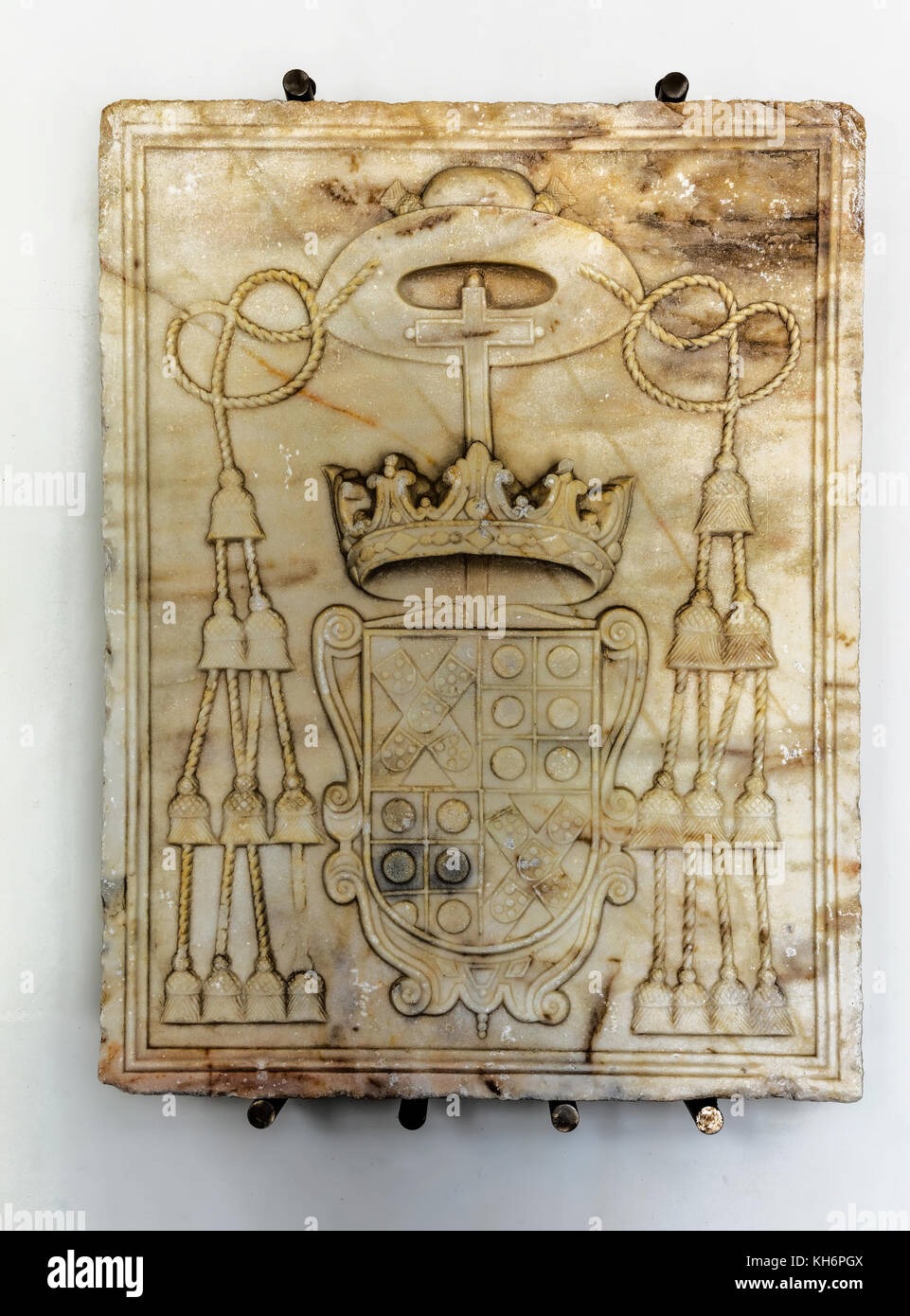 Evora Museum. Marble Coat of Arms of Don Jose de Melo, 17th century. - Stock Image