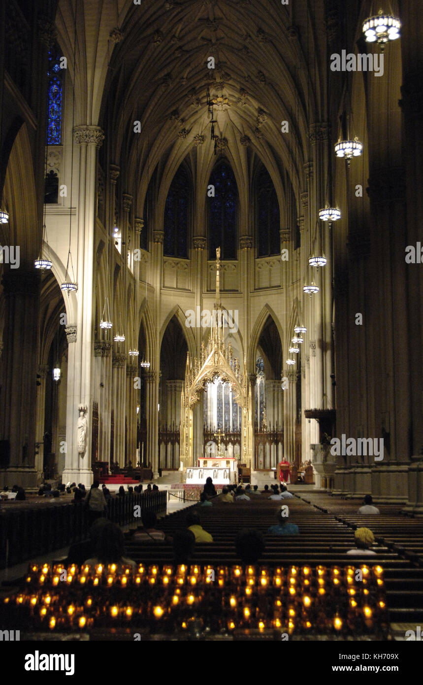 Celebration of the Eucharist. Cathedral of St. Patrick. Catholic. New York. United States. - Stock Image