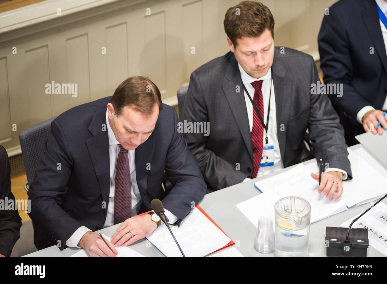 Stockholm, Sweden, 15th November, 2017. Public consultation with the Committee on EU Affairs.  Prime Minister Stefan - Stock Image