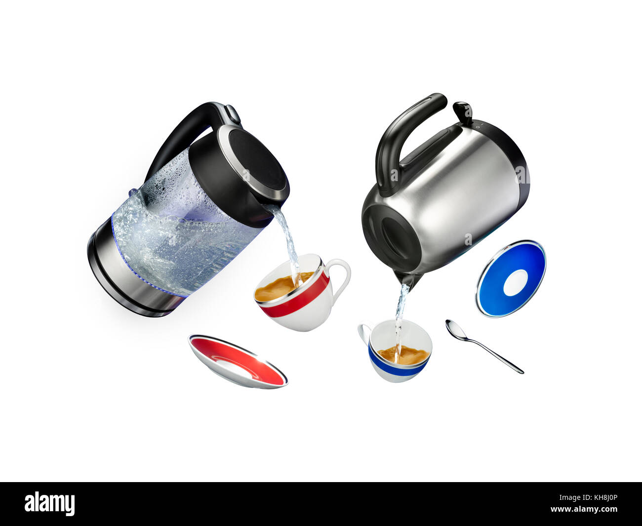 Tumbling items making a cup of tea - Stock Image