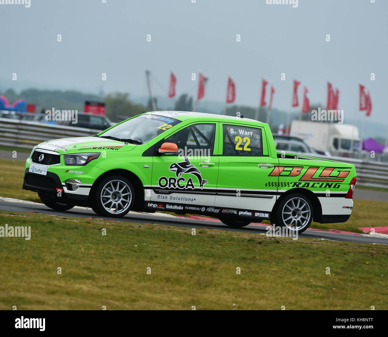 Simon Warr, SsangYong  Musso, SsangYong Racing Challenge, Mini Festival, MSVR, Snetterton, May 2017, vehicles, racing, - Stock Image
