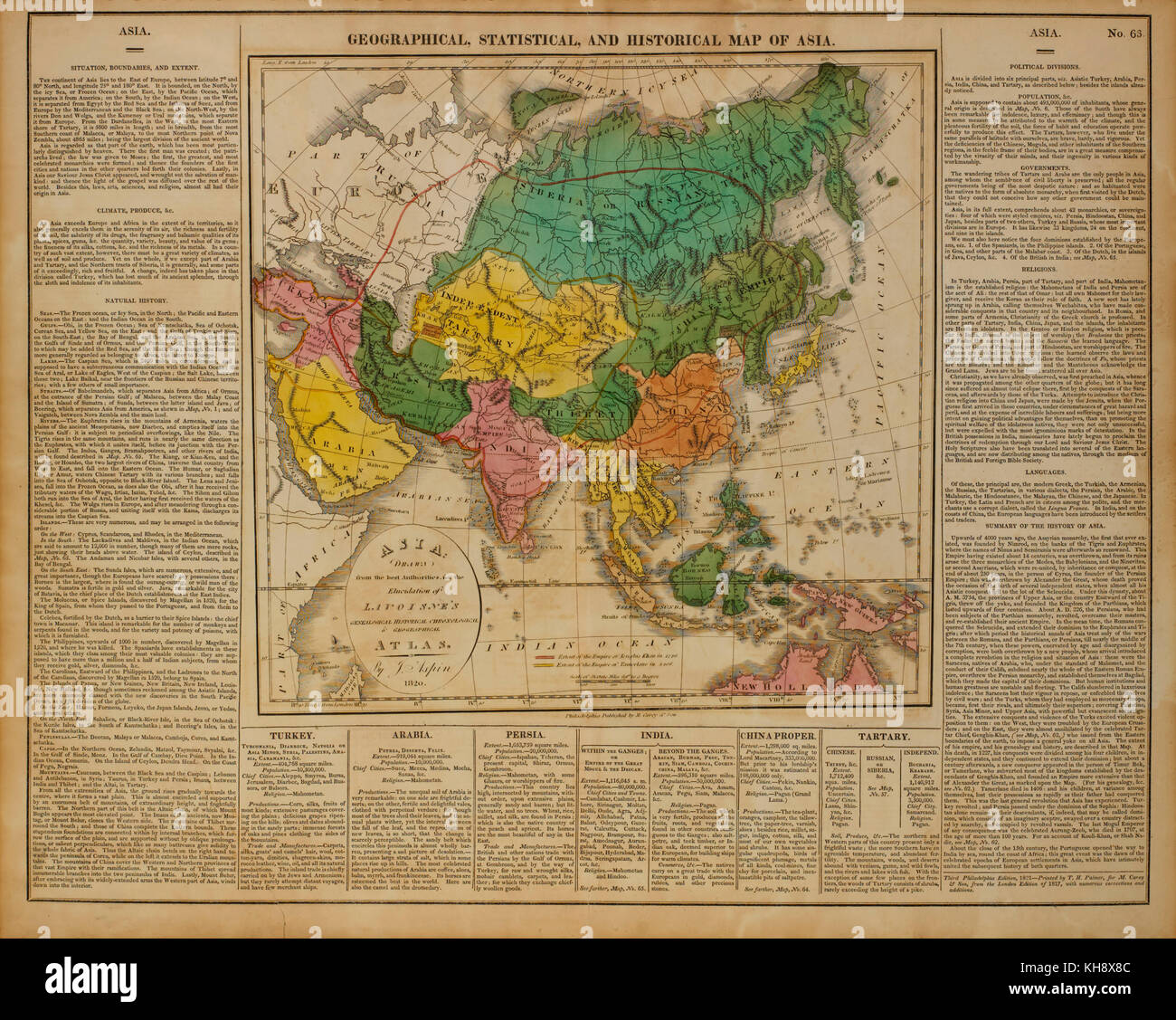 Geographical, Statistical and Historical Map of Asia, 1820 - Stock Image