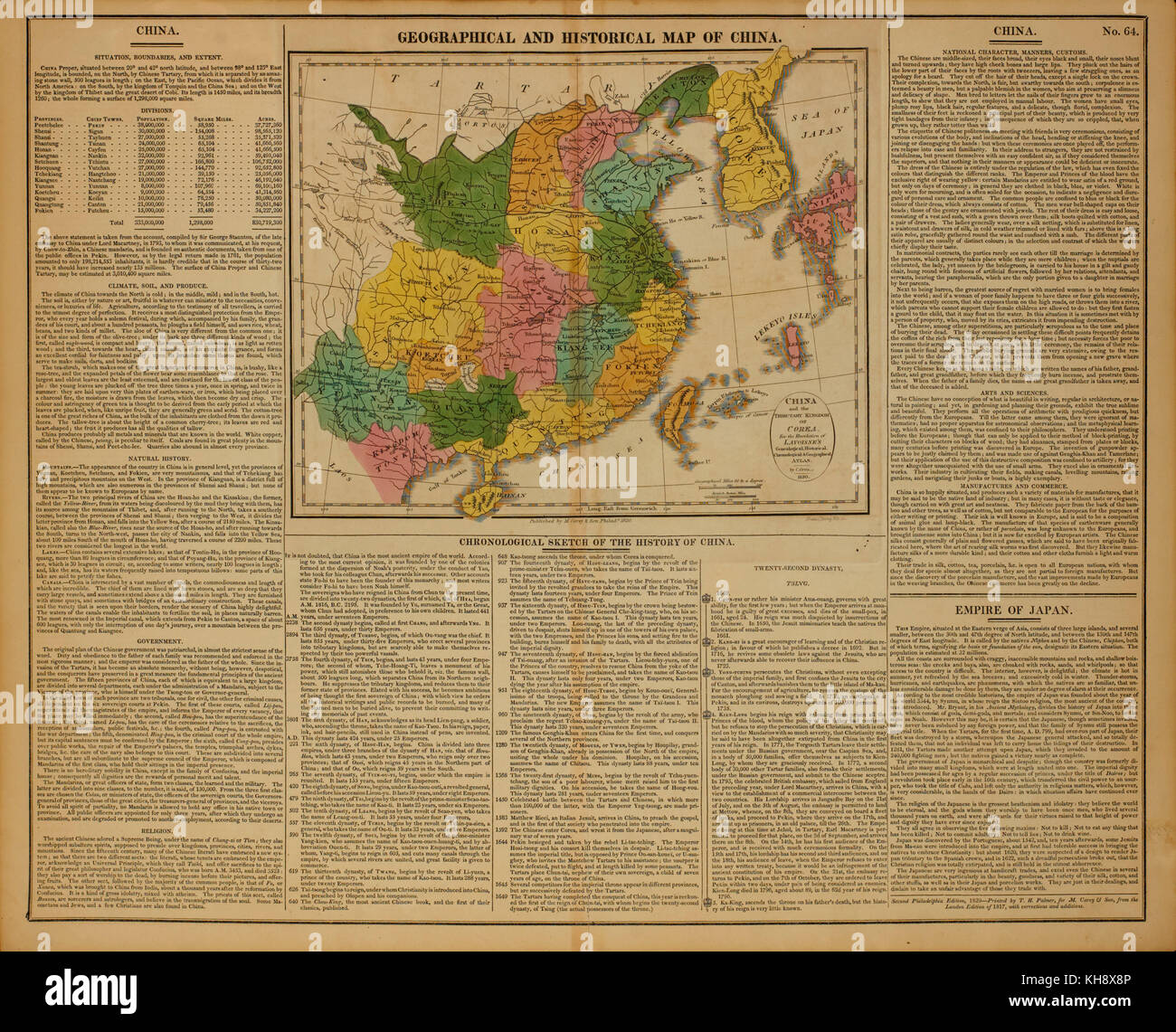 Geographical and Historical Map of China, 1820 - Stock Image