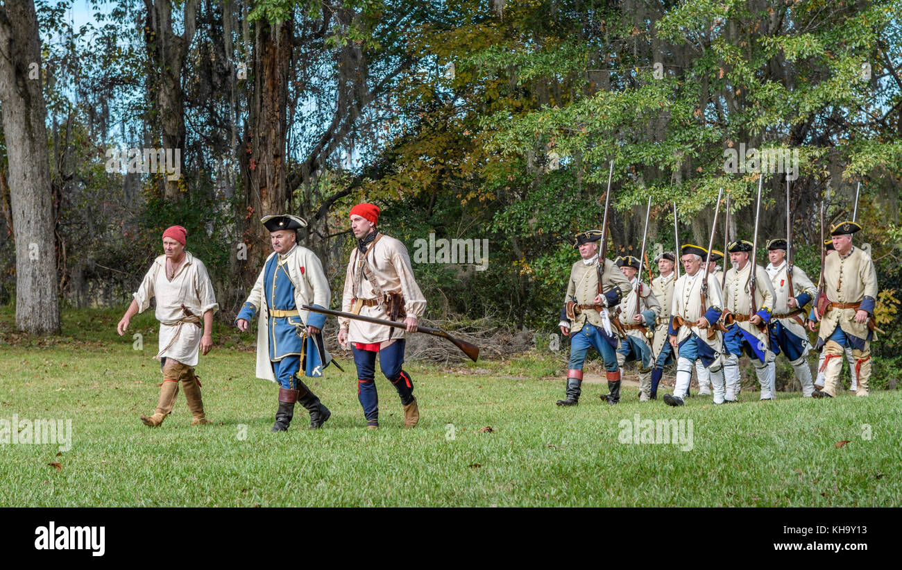 Reenactment of 1700's French soldiers arriving to establish Fort Toulouse, Alabama USA. - Stock Image