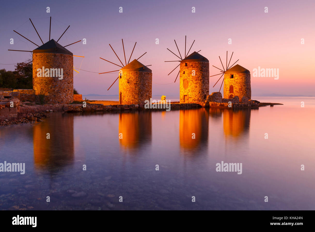 Sunrise image of the iconic windmills in Chios town. - Stock Image