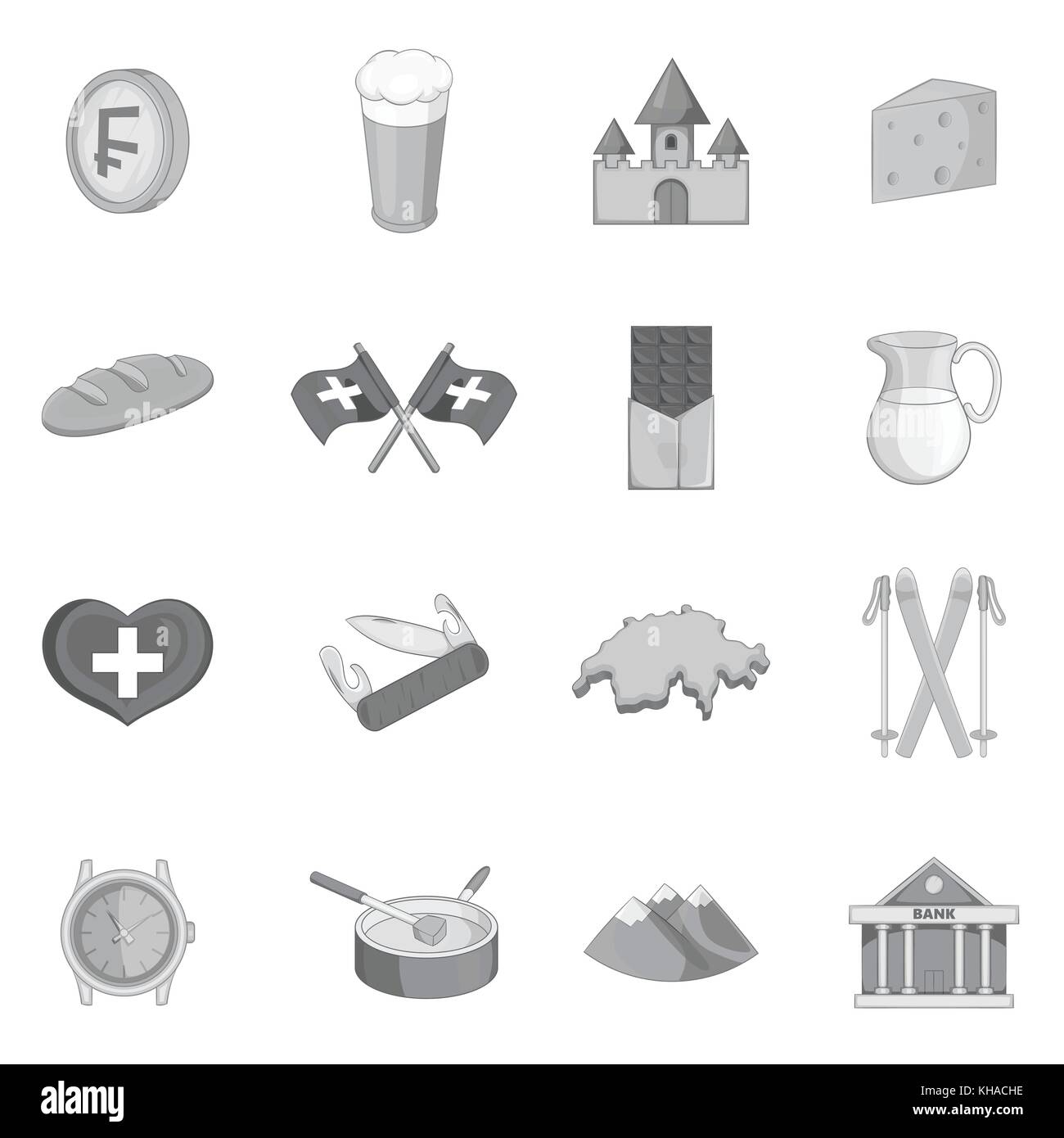 Switzerland travel icons set, monochrome style - Stock Image