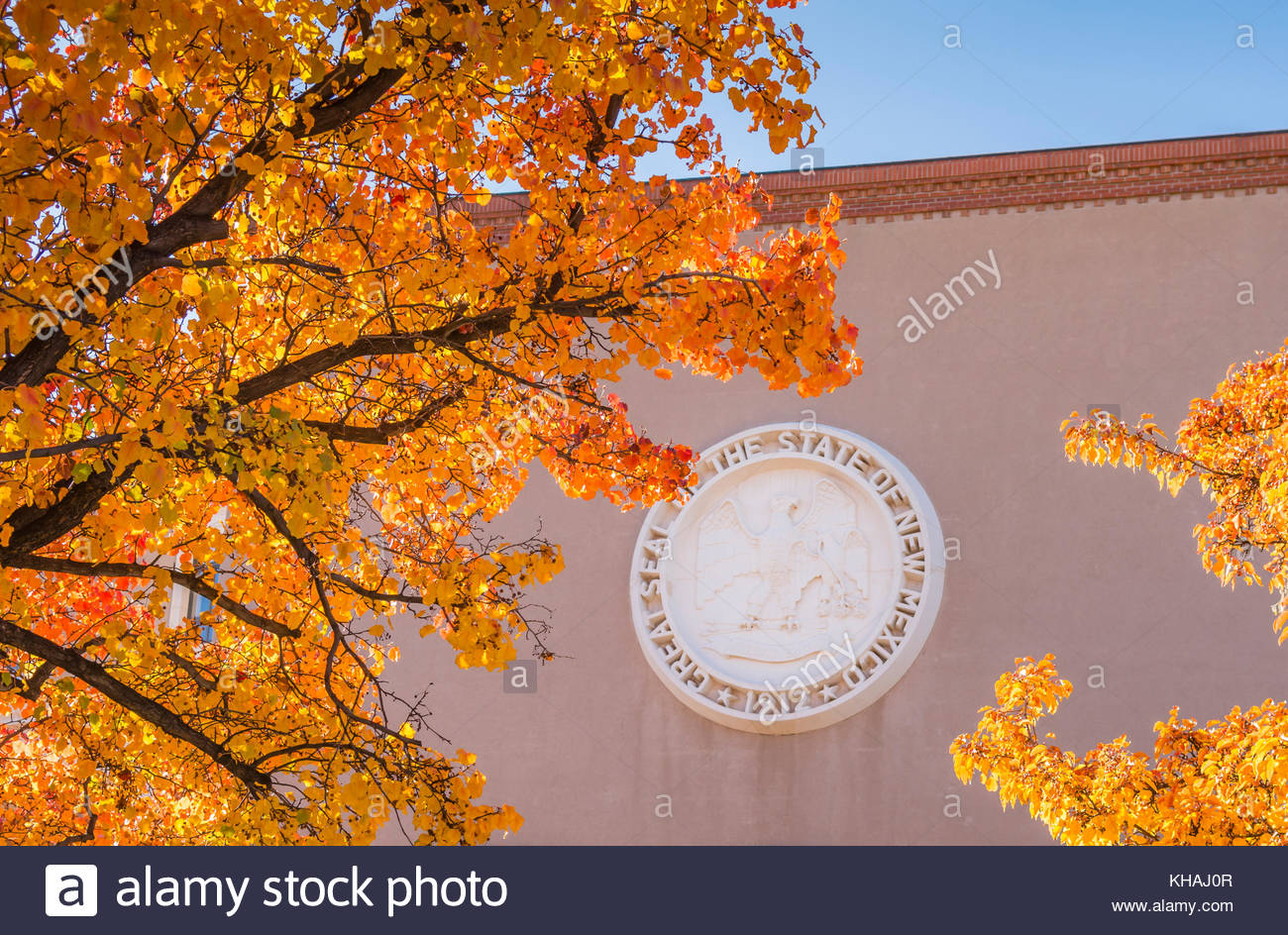 Great Seal of the State of New Mexico, 1912, on the capitol building, the roundhouse in Santa Fe, New Mexico, USA - Stock Image