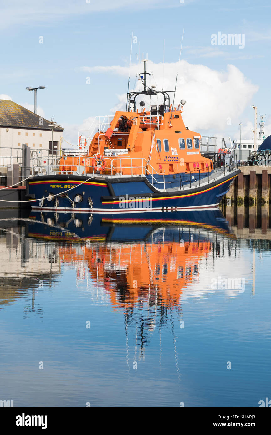 RNLI Lifeboat Margaret Foster in Kirkwall harbour, Kirkwall, Orkney Islands, Scotland, UK - Stock Image