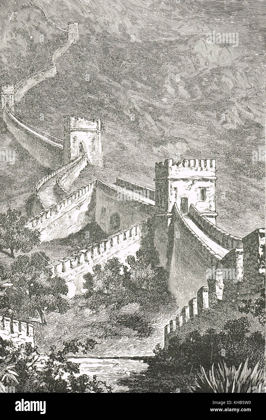The great wall of China, 19th century view - Stock Image