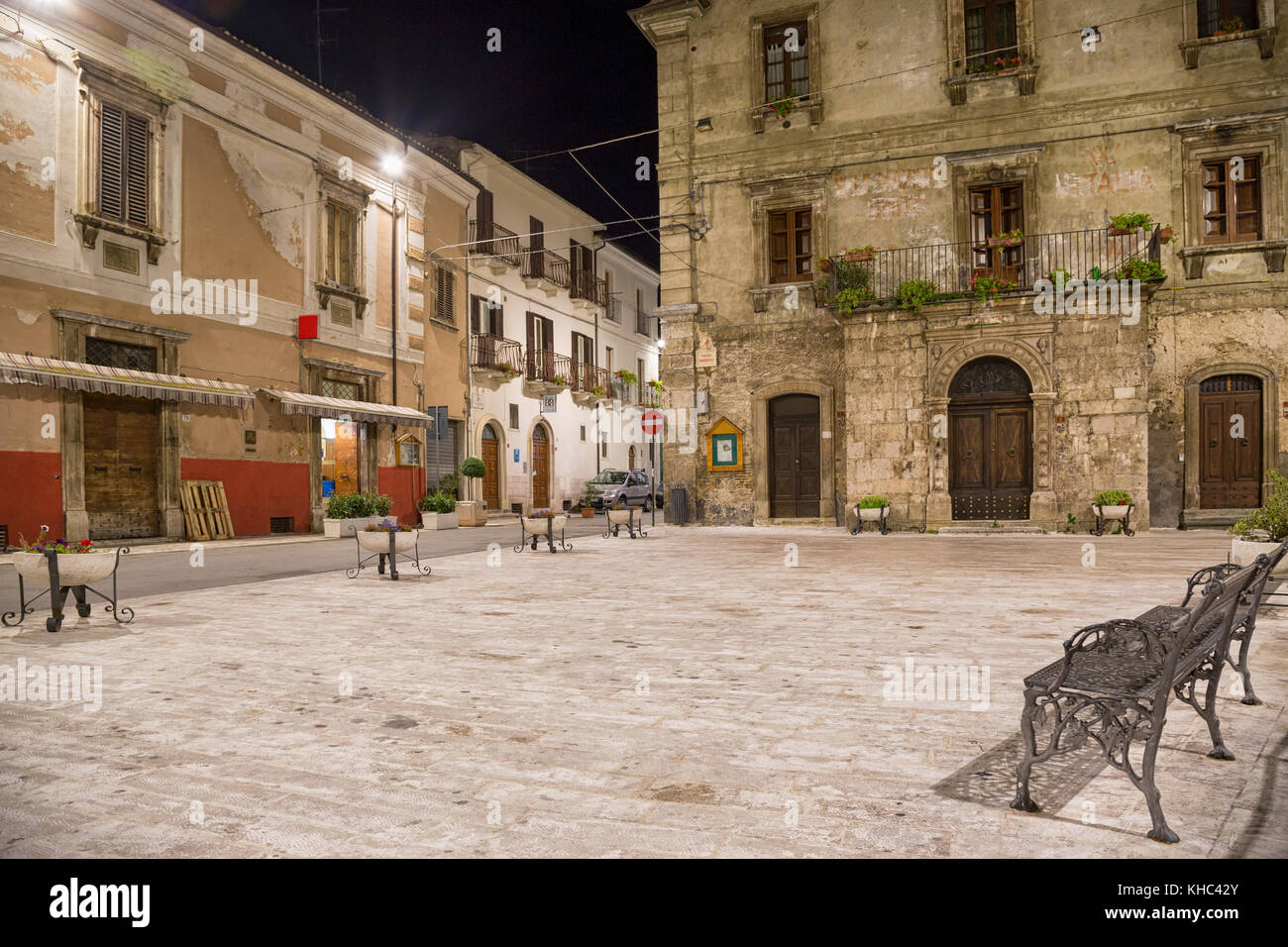 Pacentro (L'Aquila, Italy) - Night landscape of the little ancient town - Stock Image