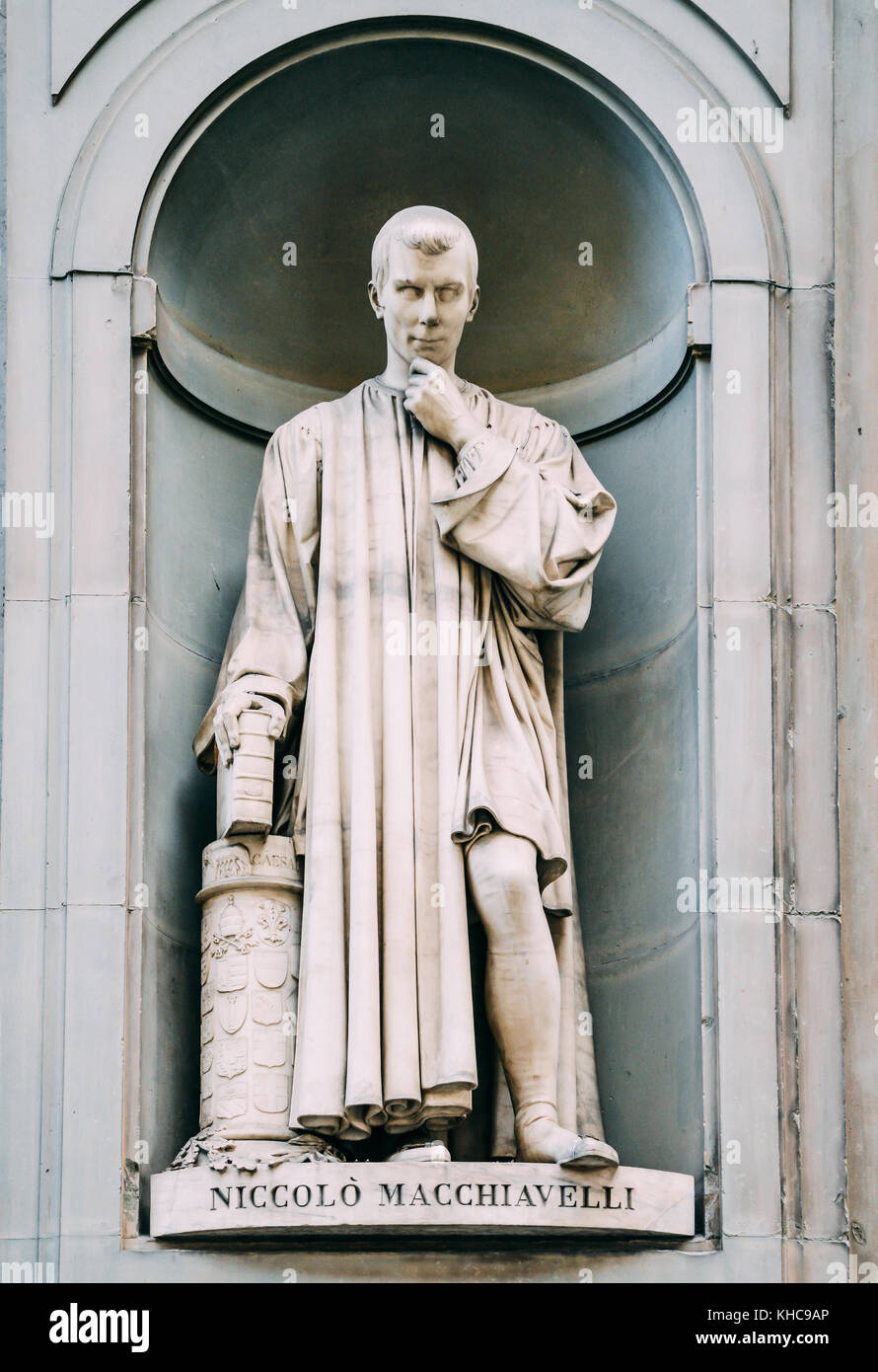 Statue of Niccolo Macchiavelli, medieval politician and writer, outside the Uffizi Galleries in Florence, Tuscany, Stock Photo