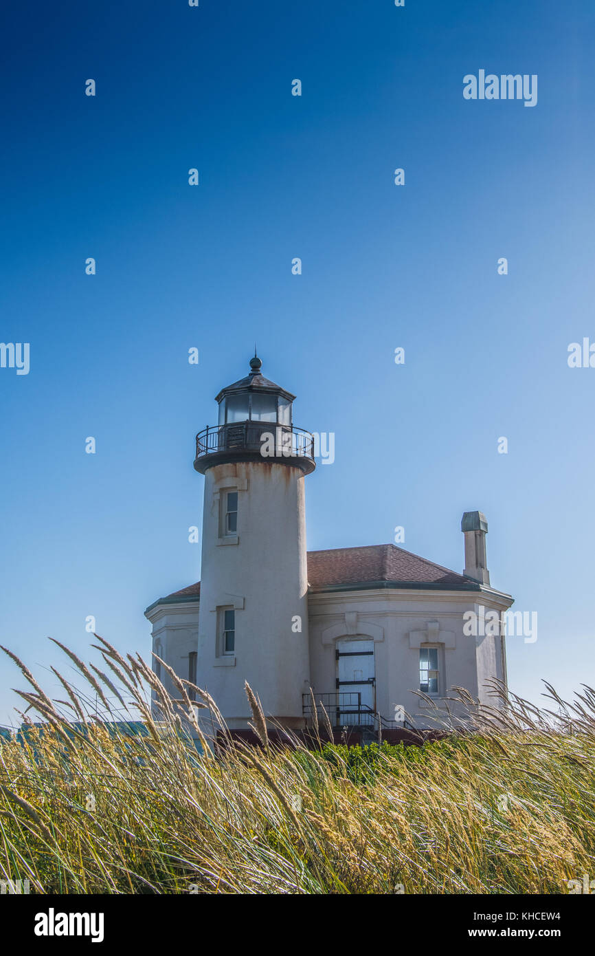 Grasses Blow in the Wind in Front Of Coquille River Light along Oregon coast - Stock Image