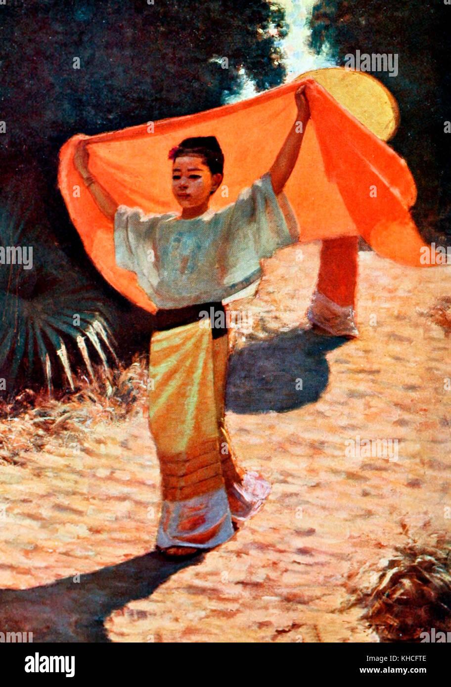An extemporised Parasol - Burma, circa 1900 - Stock Image