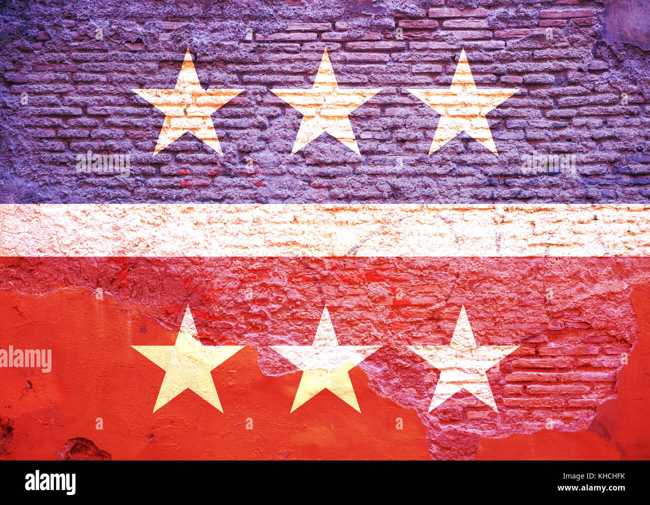 Democrats, republicans relationship. Their flag has been painted on a brick wall. 3d illustration - Stock Image