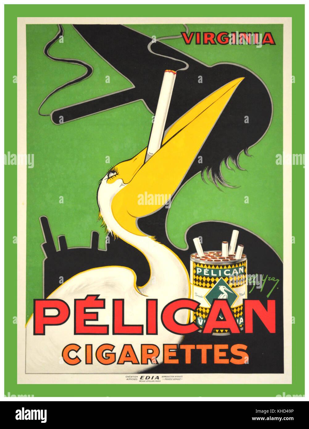 ART SMOKING 1920's Vintage Art Deco French Poster 1920s Virginia Pelican Cigarettes Smoking - Stock Image
