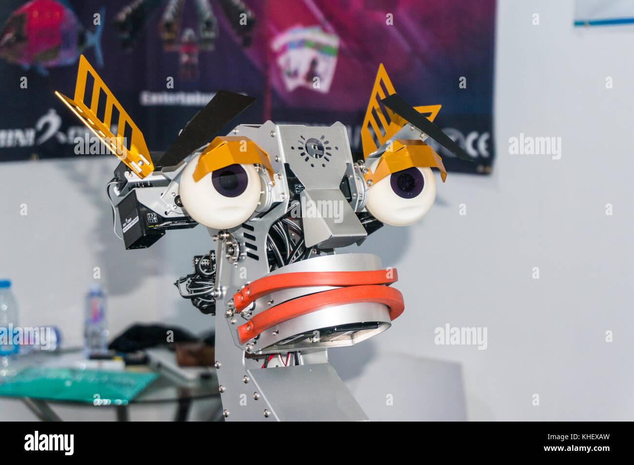 Funny Korean robot minirobot face facial expressions at China hi-tech fair in Shenzhen, known as 'Silicon Valley - Stock Image