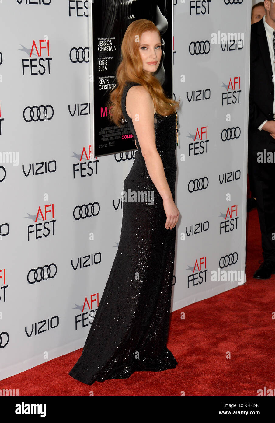 Los Angeles, USA. 16th Nov, 2017. LOS ANGELES, CA. November 16, 2017: Jessica Chastain at the AFI Fest 2017 Closing - Stock Image