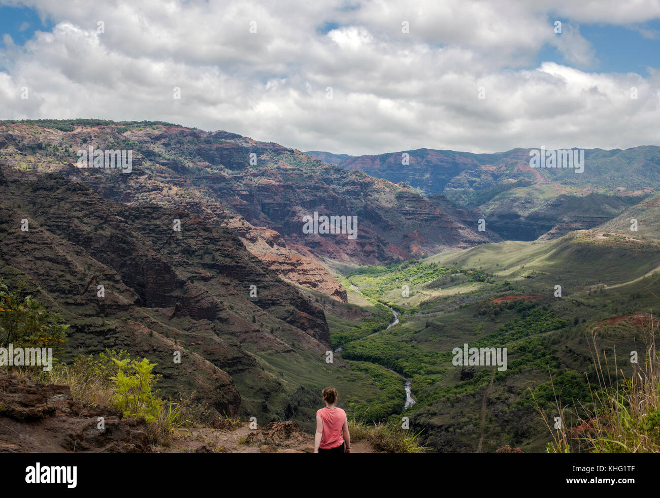Teen girl at a Waimea Canyon viewpoint - Stock Image
